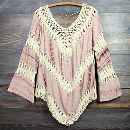 2015 Woman Sexy Summer Beach dress Deep V Neck Crochet Dress Long Sleeve Hollow Out Swimwear Bikini Cover Up Lace Crochet V-Neck Shirt