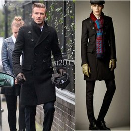 Wholesale hot sale winter wool men fashion coats David Beckham men long double breasted woolen jackets lxy223