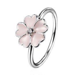 Wholesale Pink Enamel Flower Zircon Ring European Silver Pandora Jewelry Rings For Women Birthday Wedding Anniversary Gift