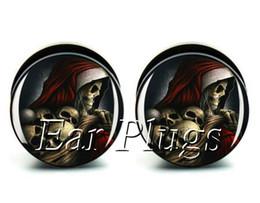 Wholesale ear gauges 60pcs bag skull reaper ear plug gauges tunnel ear expander ASP0514