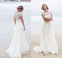 2016 Beach Lace Wedding Dress Chiffon Appliques A Line Capped Sleeve Back zipper Vestidos De Noiva Bridal Gowns Casamento ivory