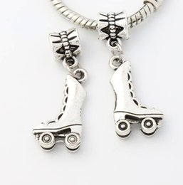 Wholesale Antique Silver Roller skating Shoes Big Hole Beads Dangle Fit European Charm Bracelets x11 mm B233