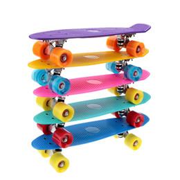 Wholesale 5 Colors Plastic Skateboard Mini Cruiser Complete quot x quot Longboard Boy Girl Retro Skate Board Y1601