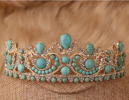 Wholesale Restore ancient ways imitate turquoise baroque bride tiara crown