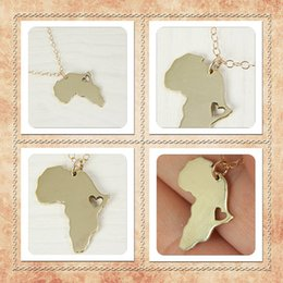 Wholesale 5pcs Gold Silver Country of South Africa Map Necklace African Map Necklace Adoption Ethiopia Ciondolo Africa Heart Necklaces