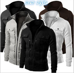 Wholesale New Autumn Mens Fashion Slim Fit Hoodies Zipper Stand Collar Sweatshirt Sportswear Male Casual Jacket Coat High Quality