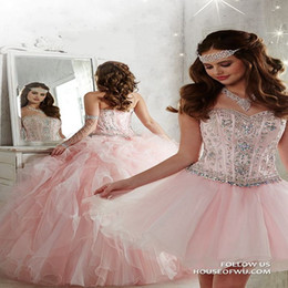 Wholesale Light Pink Detachable Ball Gown Quinceanera Dresses Sweetheart Crystal Beaded Organza Full Length Masquerade Sweet Dresses Corset Lace Up