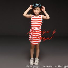 Pettigirl 2016 Cheap Girls Straight Dress Fashion Red And White Stripe Casual Dresses for Kids Summer Beach Clothing GD40420-48