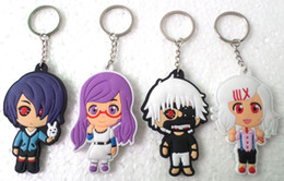40 Pcs Anime Cartoon Tokyo Ghoul PVC key chain cartoon two-sided Soft Rubber Keychain Anime Metal Key Chains Pendant Kids Christmas Gift