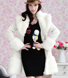 Wholesale-2015 New Fashion Winter Faux Fur Wools Long Sleeve For Women Elegant Women Wool Coats Plus Size Designer Coats Women Clothing