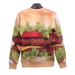 FG1509 Plus Size Women Men 3D Hoodies Casual Food Pullover 3D Sweatshirt Brand Strawberry Hamburger Printed Medusa Moleton Femininos