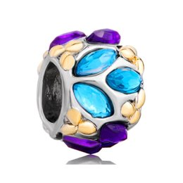 Fashion women jewelry European spacer beads multi-color crystal metal bead loose charms fits Pandora charm bracelet