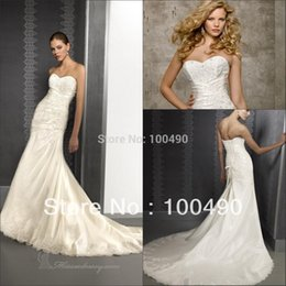 Wholesale 2015White Ivory taffeta Strapless A line Bridal gowns Corset Tie back with beads and crystals