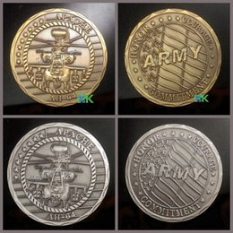 Wholesale 2 Mixed Apache AH64 Antique Silver Plated and Gold Plated Army Challenge Coins