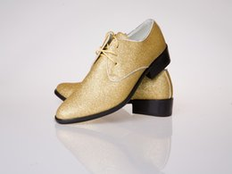 Wholesale Gold Groom Wedding Shoes Man Breathe freely Leather Prom Shoes Business Dress Shoe Single shoes DY