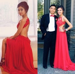 New Sexy Style Backless Red Evening Dresses Crew Neck Lace Chiffon Front Slit Floor Length Long Prom Party Dress Custom Made E164