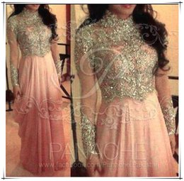 Wholesale Arab Muslim pink high neck collar A line chiffon prom dresses stunning sequins beaded with long sleeves floor length evening gowns BO5728