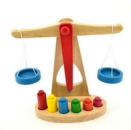 Wholesale Montessori Teaching Aids Wooden Scales Balance Beam Kids Math Toys