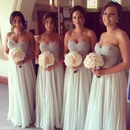 Fashion Long Bridersmaid Dresses Sweetheart Beaded Lace A line Top Pleats Chiffon Wedding Party Gowns Custom made