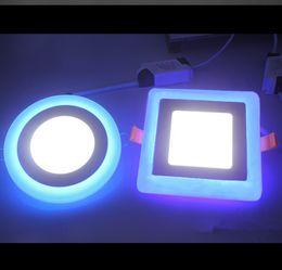 2016 синяя панель Высокая мощность Светодиодные светильники 6W 9W 16W 3 режима освещения Светодиодные индикаторы панели Круглый акриловый синий + Холодный / теплый белый светодиодные утопленный свет AC 85-265V синяя панель акция