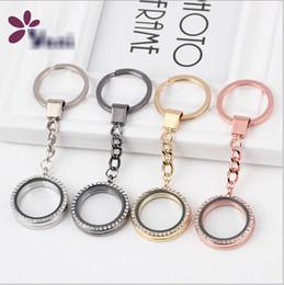 Glass floating locket key ring Yani DIY photo open round key ring charm shining crystal diamond free shipping