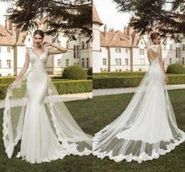 Wholesale Australian Wedding Dresses Designers Sexy Berta Bridal V Neck Capped Sleeve Bare Back With Watteau Trains Lace Mermaid Wedding Dresses LA