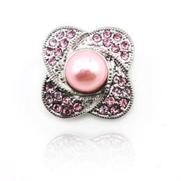 JINGLANG Fashion 18mm Snap Buttons Metal Pink Rhinestone Leaf Pearl Clasps DIY Ginger Snaps Noosa Jewelry Accessories