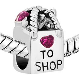 Rhodium Plating Glitter Purple Enamel Shopping Basket Heart Love To Shop Beads Fit Pandora Charm Bracelet