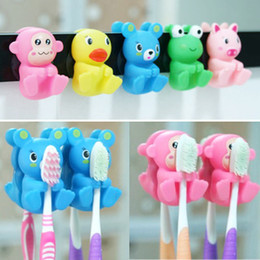 Free shipping lovely Suction cup toothbrush holder Fashion cartoon toothbrush holder 2pcs card WC30