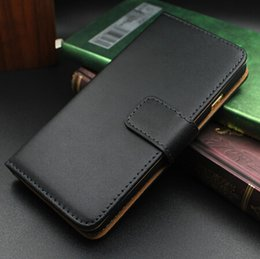 Wholesale Black Luxury Real Genuine Leather Case For iPhone Stand Design Wallet Style Phone Bag Flip Style Cover Cases For Iphone6