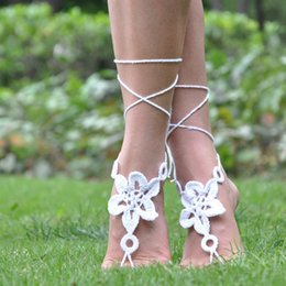 Wholesale Crochet Steampunk - 2 Colors Anklet Crochet Barefoot Sandals Steampunk Victorian Lace Foot jewelry For Women Girls Free Shipping