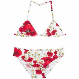 Wholesale Wl Monsoon Girls Bikini Baby Girl Swimwear Pieces Brand Summer Girls Bathing Suits Toddler Swimwear Kids Poppy Print Girls Swimsuit