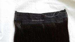 Remy Indian Remy Hair No Clips Halo Flip in Hair Extensions, 1pc 100G Color #1b Natural Black Easy Fish Line Hair Weaving Wholesale Price