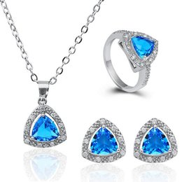Wholesale 18K Gold Plated Triangle Necklace Earrings Rings Sets Fashion Luxurious Crystal Jewelry Copper Material Fine Jewelry Sets