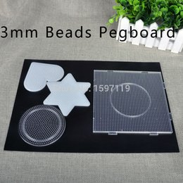 Wholesale-DIY Tape Pegboard 3mm Square Heagon Heart Circle Fit To 3mm Beads Hama Beads Fuse Beads Educational DIY
