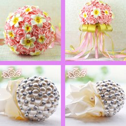 Wholesale New Wedding Bouquet Coral Hand Made Artificial Beads Crystal Rose Pearls Flower Bride Bridesmaid Bridal Decoration Accessories Cheap