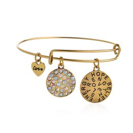 Wholesale Expandable Wire Bracelet Alex and Ani Hope Believe Love Silver Charm Bangle Bracelet Simple Bracelets for Women New Year Gifts