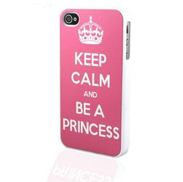 Wholesale Keep Calm Charm On white side Hard Plastic Mobile Protective Phone Case Cover For Iphone S S PLUS