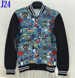 Wholesale Fall Autumn and winter fashion Personality D Cartoon Animation ducks bananas balloon patterned printing men s jackets size S XL NJ7
