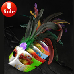 On Sale Long Feather Party Masks Venetian Masquerade Ball Decoration movie props cosplay Halloween Mask Carnival Christmas Gift mix color