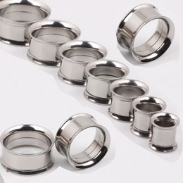 F15 Mix 5-20mm 144pcs Stainless Steel silver Ear Tunnel Body Jewelry double Flare Flesh Tunnel internally threaded