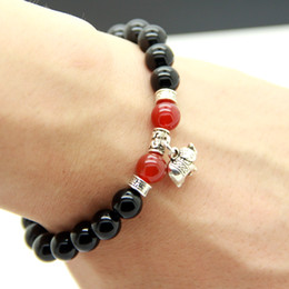 2015 New Design Wholesale Natural Black Agate Good Luck Elephant Charm Bracelets, Yoga Meditation Jewelry for Men and Women Gift