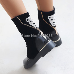 Wholesale-Winter nubuck ankle boots piece together metal zipper shine jackal headed diamond decoration warm black snow boots women boots