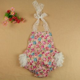 Baby Clothes baby romper pink floral baby girls romper halter back lace ruffle bottom floral newborn romper