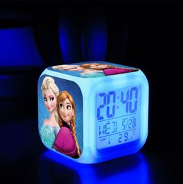 Hot Selling frozen 2015 In Stock LED 7 Colors Change Digital Alarm Clock Frozen Anna and Elsa Thermometer Night Colorful Glowing Clock
