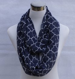 NEW women Fashion Quatrefoil Print Voile Scarf Circle Loop Cowl Infinity Scarves Ladies Scarves