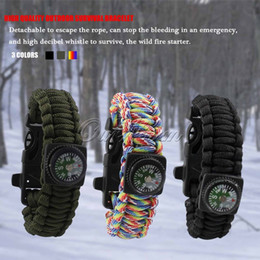 Wholesale Multifunction Outdoor Camping Survival Bracelet with Compass Fire Starter Flint Whistle Scraper for emergency JSSL