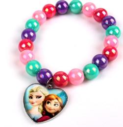 Wholesale Candy Color Beaded Bracelet Frozen Elsa Anna Charm Bracelets Child Jewelry Hot Sale