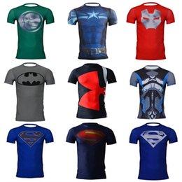 Wholesale Top quality men compression t shirts armour Superman Batman Captain America gym t shirt men fitness tights under top clothes