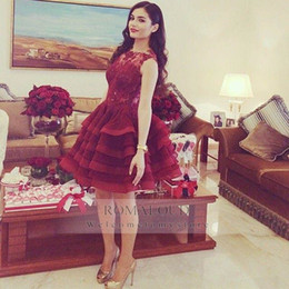Wholesale 2015 Burgundy Formal Evening Dresses Sheer Lace Cake Short Tulle Skirt Above Knee Sleeveless Women Pageant Gown Party Long Prom Dress